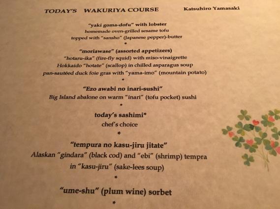 Wakuriya - menu (part 1)