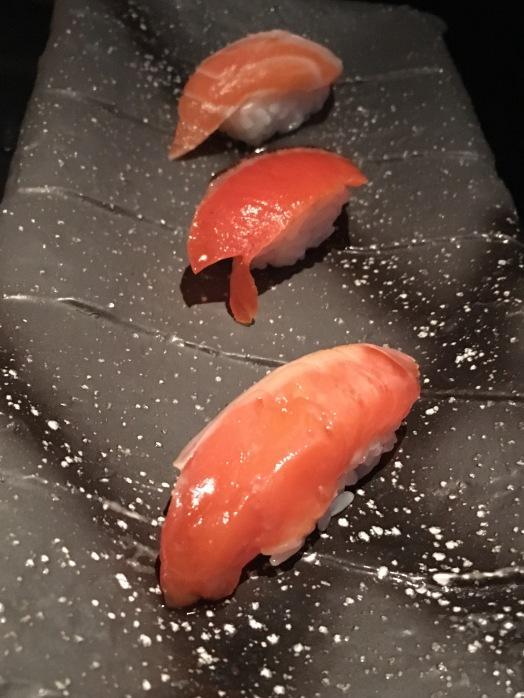 Nakazawa - salmon (sea salmon with sea salt, smoked salmon with house soy sauce, soy marinated light seared kiri salmon